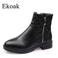DIANERKANG New 2016 Fashion Autumn Winter Boots Women Classic Zip Ankle Boots Warm Plush Black Leather