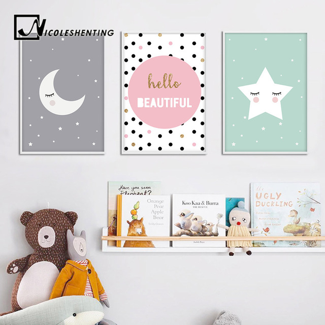 Cartoon Moon Star Nursery Quotes Wall Art Canvas Poster Print Kawaii Impressive Quotes Wall Art