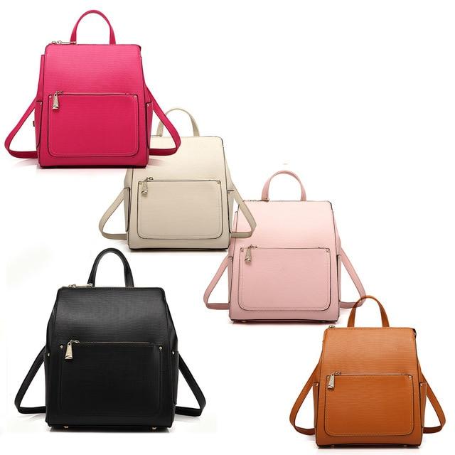 Fashion Vintage Women Korean Style Double Shoulder Crocodile Leather Backpack School Bag Satchel Bookbag