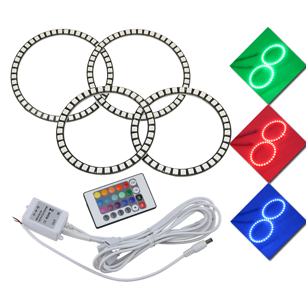 4pcs/lot 7 color RGB LED Angel Eyes Kit with IR controller car styling For Ford Focus II Mk2 2004 2005 2006 2007 2008 Europe