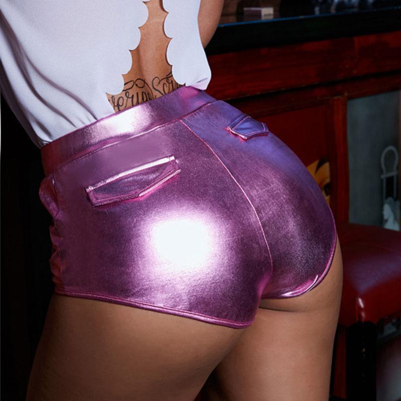 Sexy Women Faux High Waist Hot Short Push Up Hip Shiny Dance Short Pocket Vintage Booty Mini Short Culb Wear F18