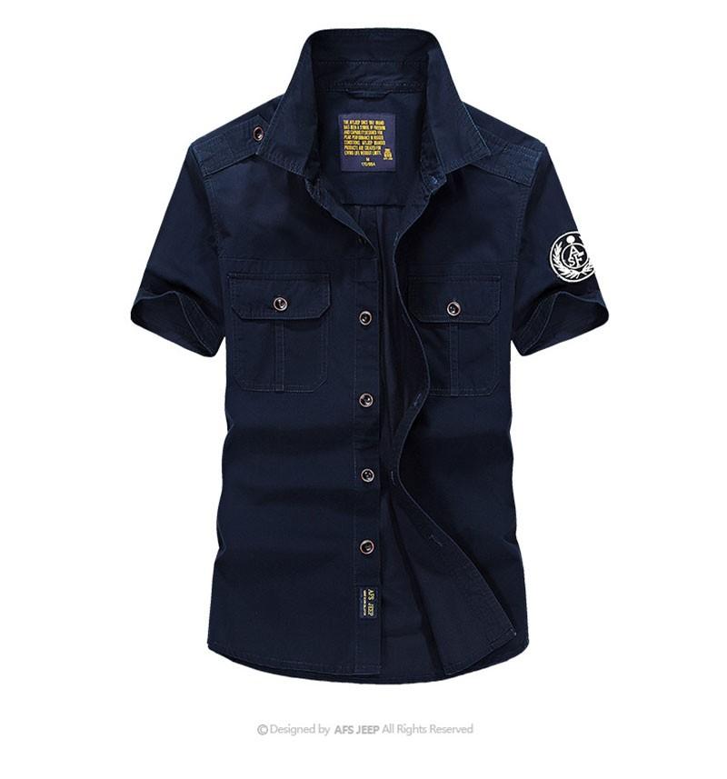 High-Grade Men Brand Clothing 2016 Hot Summer Dress Short Sleeve Shirts Straight Casual Fashion Shirts M~4XL AFS JEEP Pockets (9)