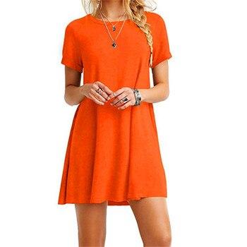 High Quality Fashion Women Black Blue Dress Summer Short Sleeve O-Neck Casual Loose Dress Female Street Plus Size Dress Vestidos 5
