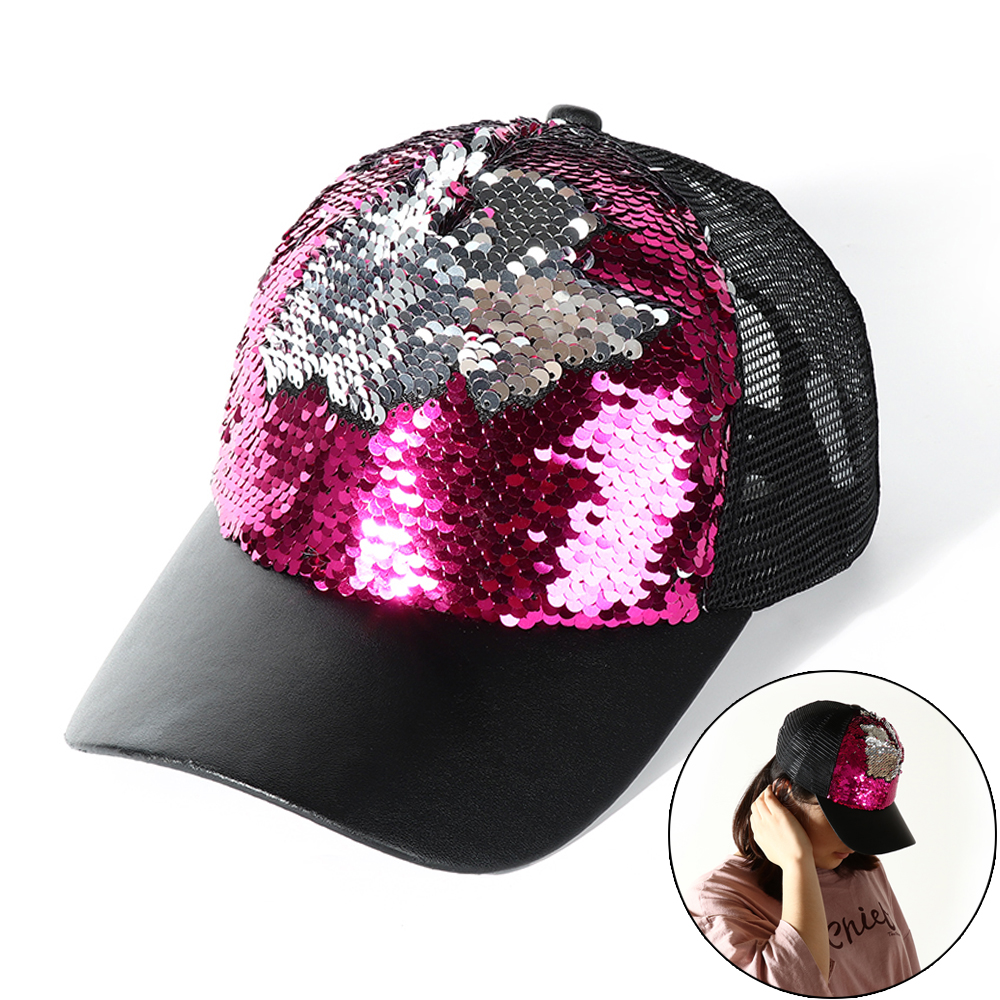 Okdeals Fashion Sequins Mesh   Baseball     Caps   Adjustable Snapback Hats Change Color Paillette Hat For Party Club Gathering