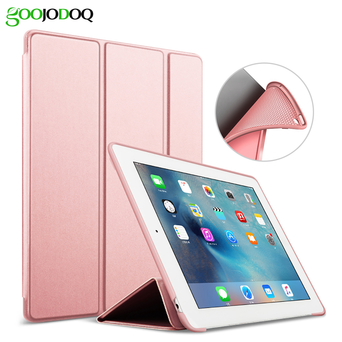 For iPad 9.7 2017 Case, PU Leather+Silicone Soft Back Smart Cover A1822 A1823 Coque for New iPad 2017 Case 9.7 inch Auto Wake for ipad mini4 cover high quality soft tpu rubber back case for ipad mini 4 silicone back cover semi transparent case shell skin