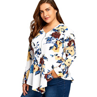 LANGSTAR Autumn Printed Plus Size 5XL Half Zipper Floral Shirt Fashion Asymmetric Long Sleeve Spring Long