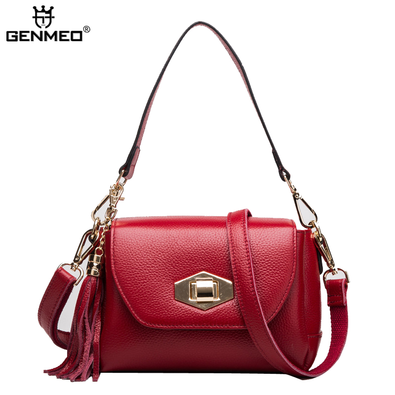 New Arrival Famous Brands Design Tassel Women's Handbags Women Genuine Leather Messenger Bags Ladies Handbag Bolsa Feminina 2018 new designer retro genuine leather bags handbags women famous brands ladies office work bag messenger clutch bolsa feminina