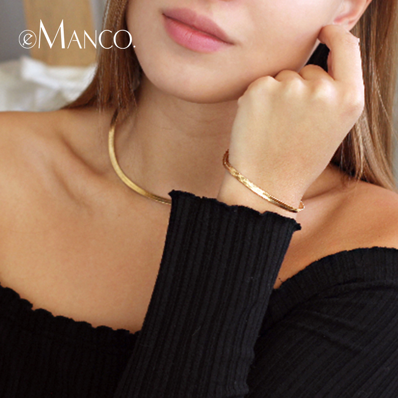 eManco Snake Chain Jewelry Sets Choker Necklaces And Bracelets Bangle for Women Gold Color New Arrivals Fashion Jewelry Gifts