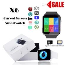 Esportes Bluetooth Relógio Inteligente X6 Tela Curvada com Suporte de Câmera Cartão SIM Whatsapp Facebook Para iPhone Android PK GT08 # C0