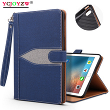 Case for New iPad 9.7 inch 2017/2018 ,for Pro 9.7, Air 1/Air 2,, Hand Strap stand Canvas TPU Tablet Case-YCJOYZW