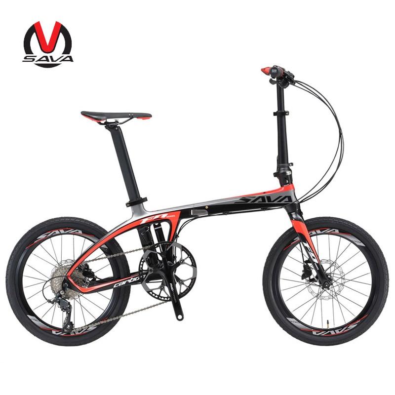 SAVA Folding Bike 20 inch Folding Bicycle Ultralight Carbon folding Bike Frame 20 mini bike 9 Speed Bike Portable Small Bicycle