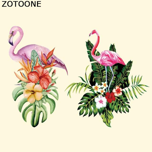 ZOTOONE Фламинго цветок патч на переводы для Костюмы девушка наклейки DIY принт на футболку платья Термальность Пресс аппликация D