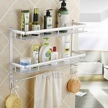 Wall Mount Aluminum 2 layers Storage Basket shower room Bathroom Towel Rack Soap Dish Shampoo Paper Holder Rack Bathroom Shelves