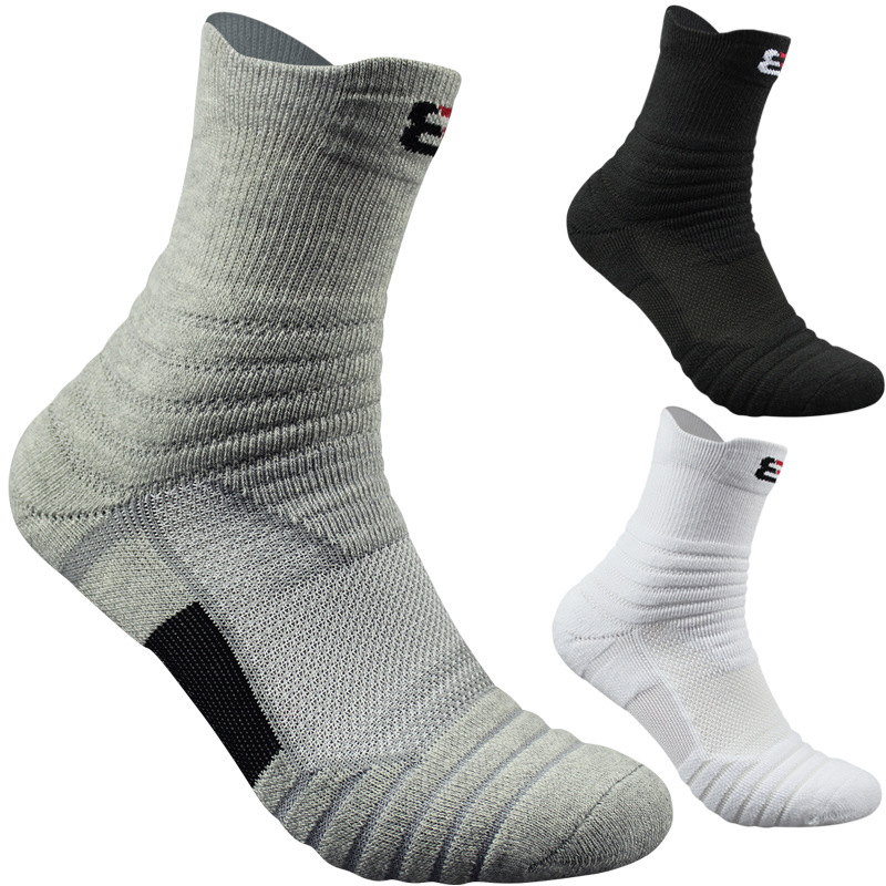 Sports Towel Socks: 3 Pairs Professional Men Soft Breathable Sports Towel Long