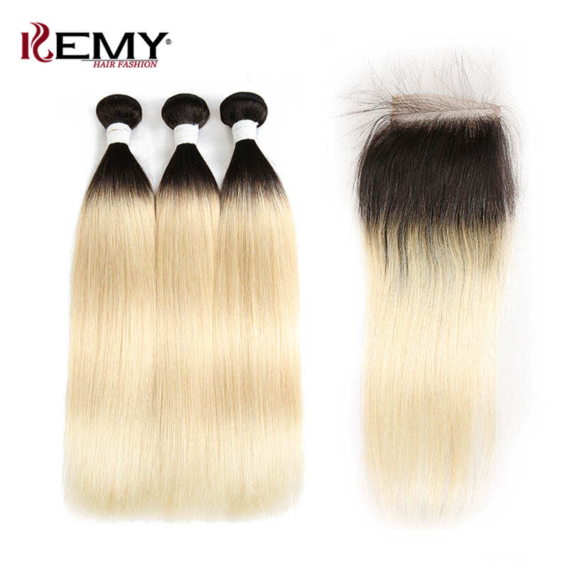 1B/613 Ombre Blonde Human Hair Bundles With Closure 4*4 KEMY HAIR Brazilian Straight Hair Weave Bundle Non Remy Hair 3PCS