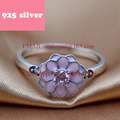 PJR086 FreeShipping 925 silver ring . pink flower ring elegant jewerly. rings for woman charmming birthday gift