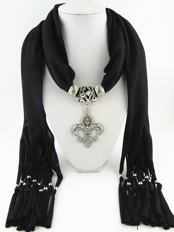 New Design Fringed Jewelry   Scarf   Lily Alloy Pendant   Scarf   Women Fashion   Wrap   free shipping
