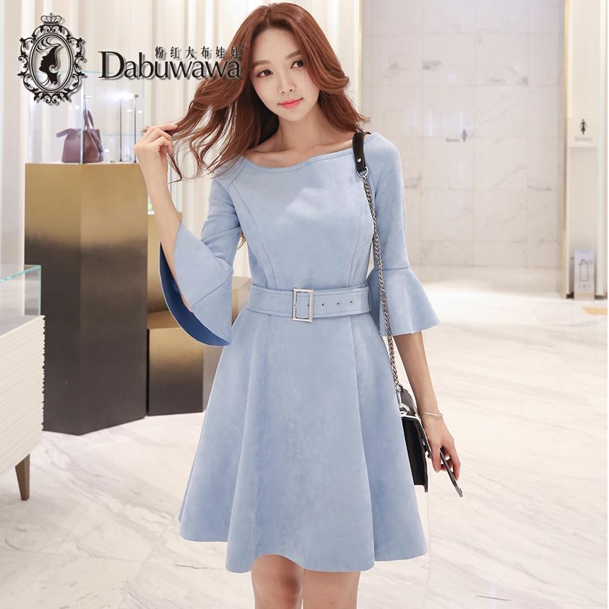02f2d29bbada Dabuwawa Sky Blue Autumn Sexy Suede Off Shoulder Dress Elegant Flare Sleeve  Vintage Dress With Belt