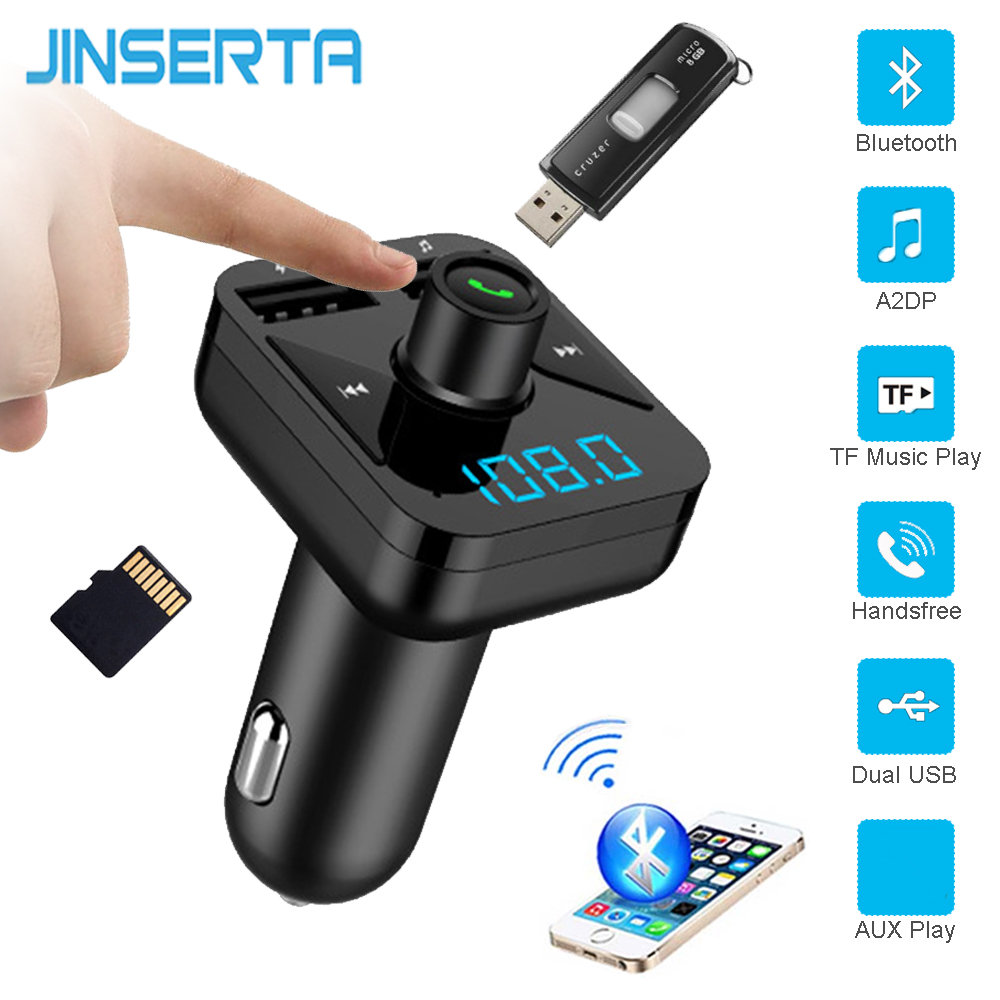 JINSERTA FM Transmitter Wireless Bluetooth Car MP3 Player USB Disk TF music Audio transmitters Receiver Handsfree USB Charger