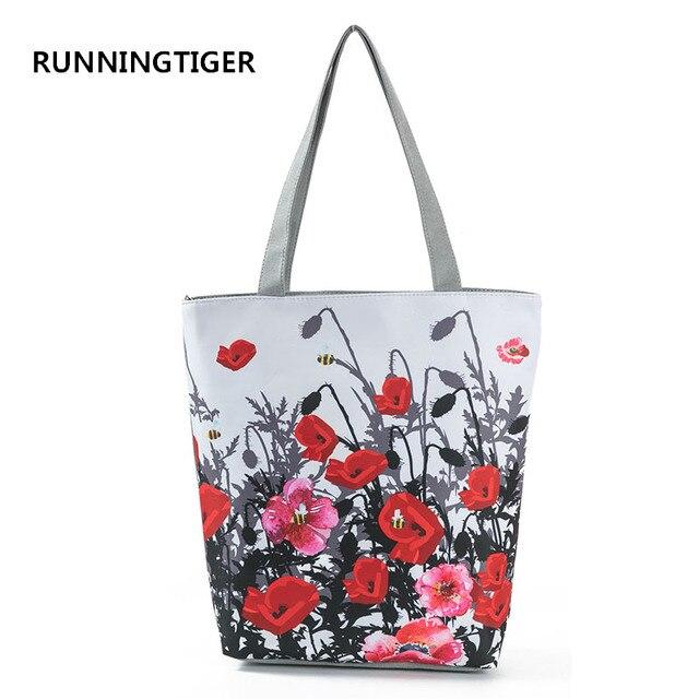 42aa99ce1 RUNNINGTIGER Floral Imprimir Mulheres Bolsa Bolsa Feminina Grande  Capacidade de Uso Diário Saco de Compras Da