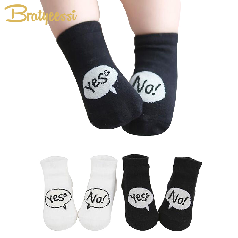 Yes No White Black Baby Socks Soft Cotton Children Ankle