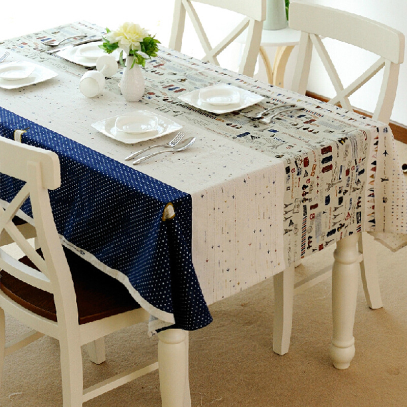 Linen Table Cloth Covers Mediterranean Style Towel Printed Dust Proof Rectangular Dining Tablecloths Free Shipping