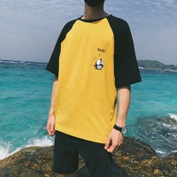 2018 Summer Newest Men S Fashion Cute Printing Pattern Round Collar Student Loose Casual Yellow White