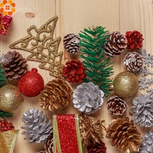 Hot!9PCS Gold Christmas Ornaments Pine Cones DIY Xmas Tree Ornaments Pendant Christmas Party Decorations Home Decor