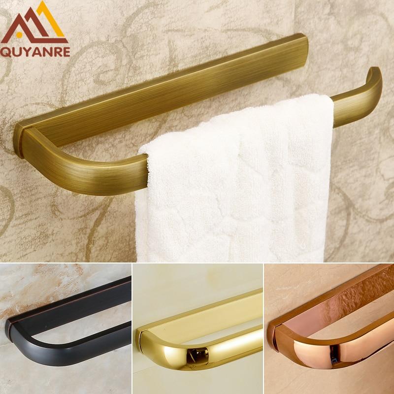 Free Shipping Single Bathroom Kitchen Towel Bar Towel Holder Antique Brass Golden Bathroom Tolwer Holder Rod стоимость