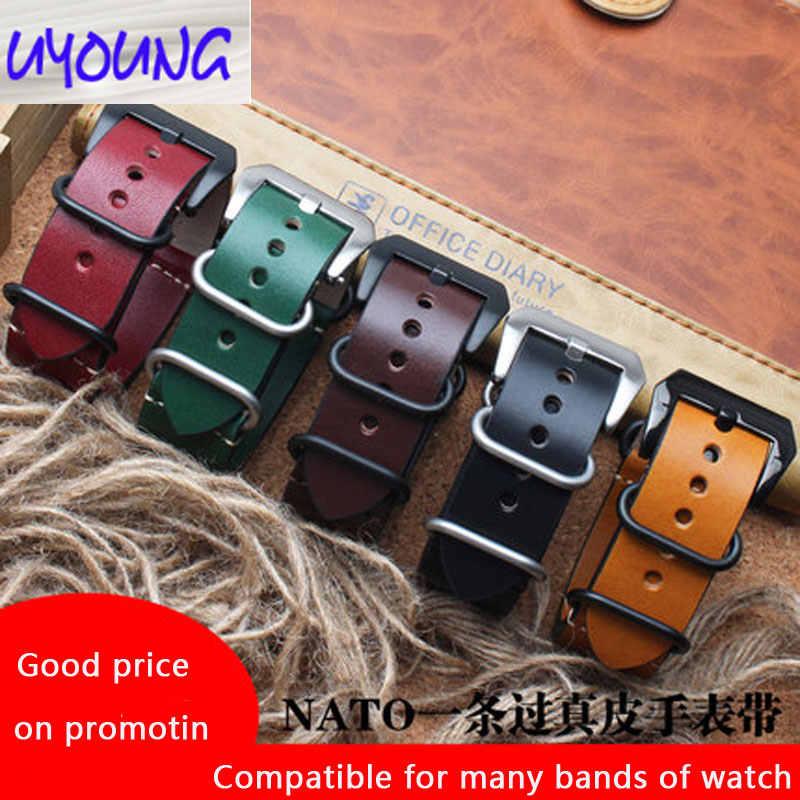 Retro lederen horlogebandje Aangepast voor par-erai Seiko water ghost 22 24mm zuivere leer suede koeienhuid