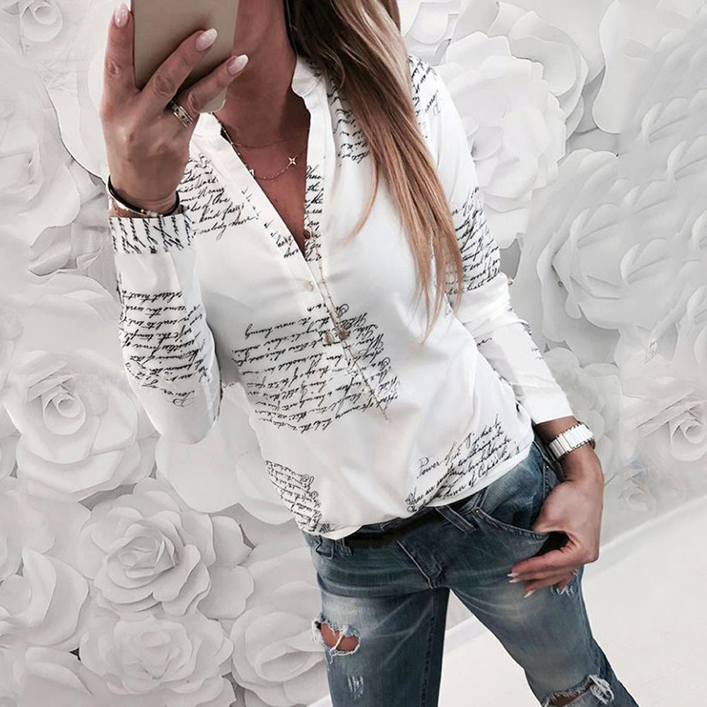 V Neck Letters Printing Button Long Sleeve Blouse  1