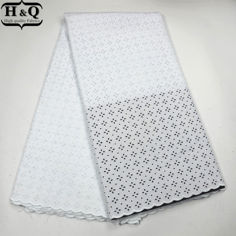 H Q White African Swiss Lace Fabric High Quality Embroidered Fabric Dry Lace Fashion African Voile