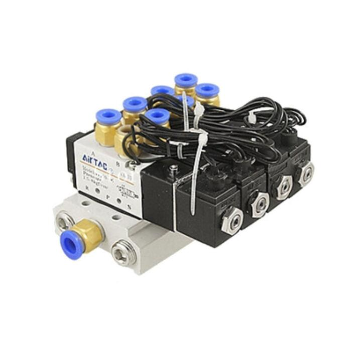 1 Set 5 Way 1/8 bsp 4V110-06 Quintuple Solenoid Valve Electromagnetic Valves Suit Connect Muffler Fitting Base12v 24v 110V 220v 5 way pilot solenoid valve sy3220 4g 02