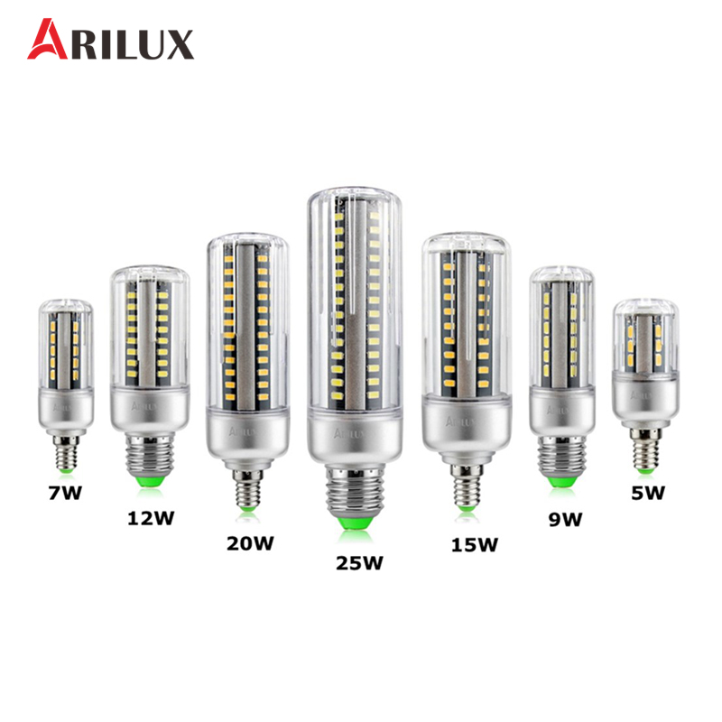 ARILUX LED Light Bulb E27 E14 5W 7W 9W 12W 15W 20W 25W Corn Bulb Candle Light Spotlight Lamp Lighting AC85-265V