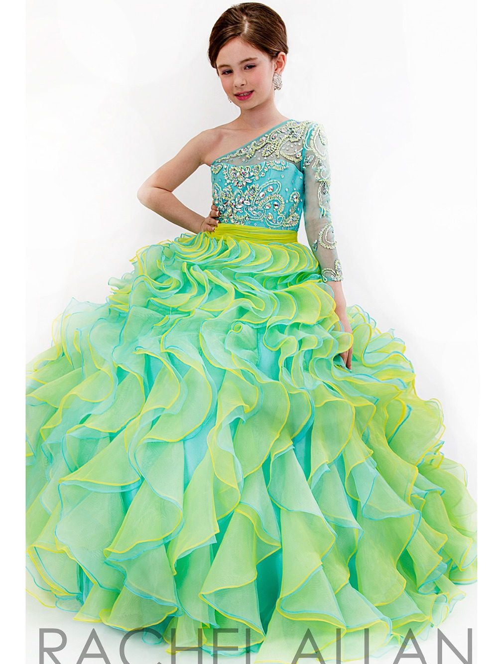Luxury Pink Scoop Long Ball Gown Beading Beauty Ruffle Glitz Pageant ...
