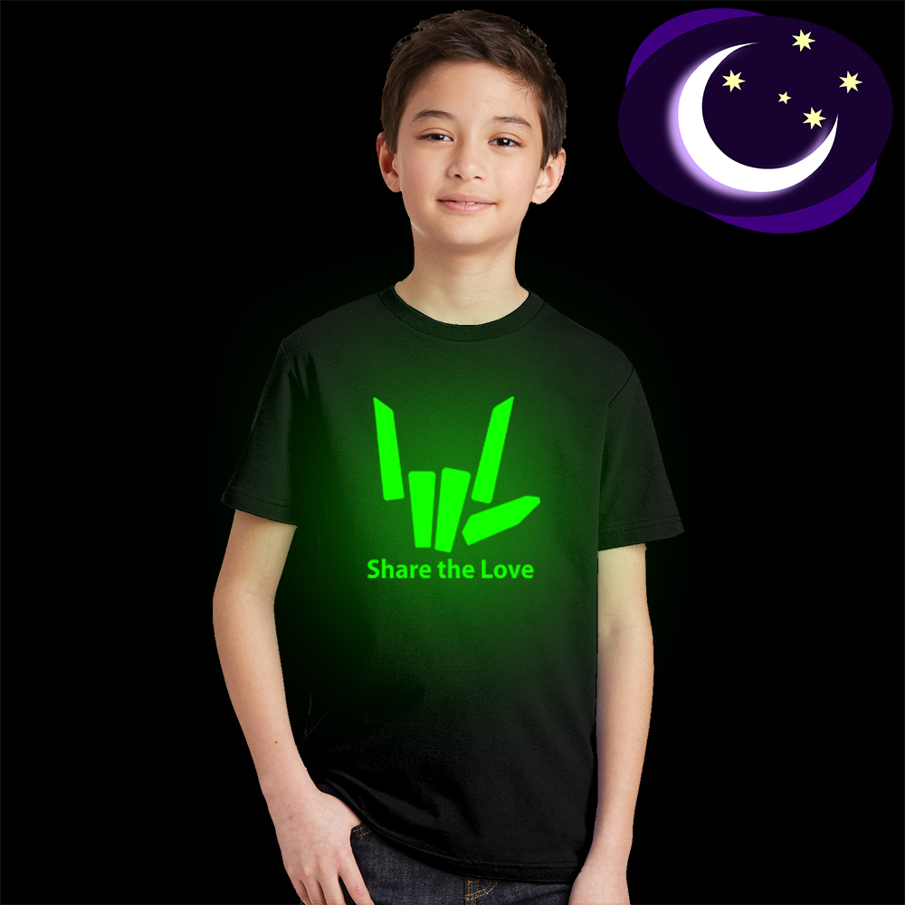 T-Shirt Girls Share Street-Style Glow-In-The-Dark The-Love Fashion Childrens Tees Short-Sleeves