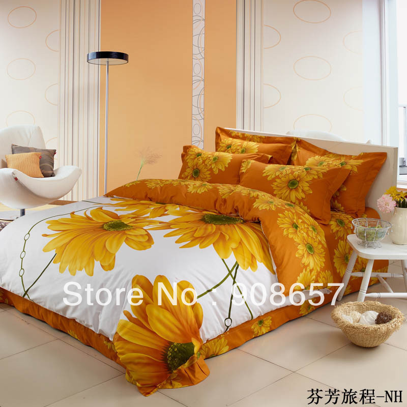 yellow sunflower prints cotton bedding cheaper duvet quilt covers Queen/full bed in a bag set 4pc with bed sheets for comforter