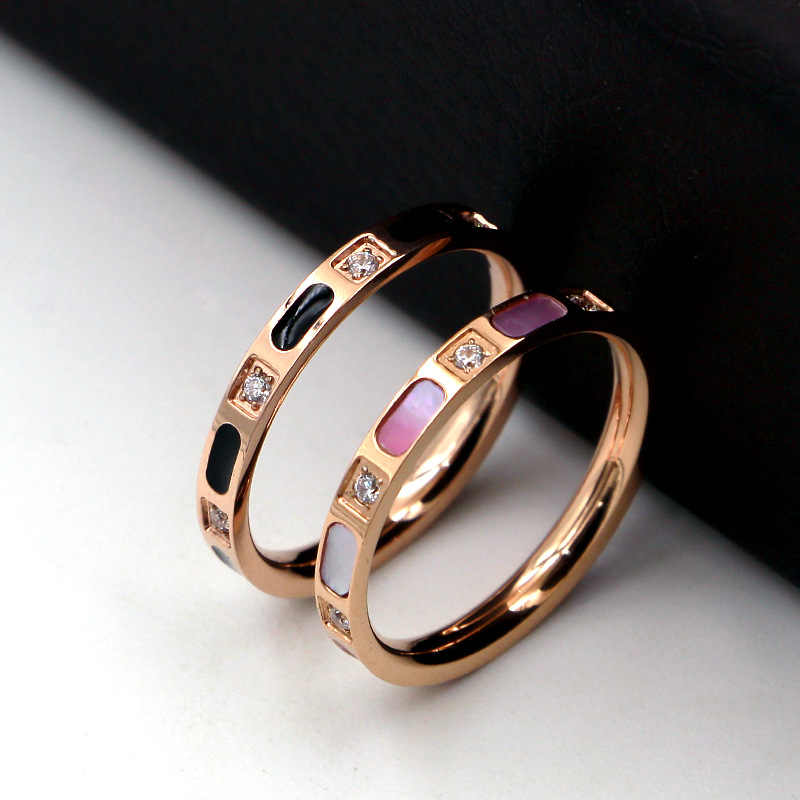 FYSARA 2MM/2.5MM Natural Shell Thin Ring Titanium Steel Luxury Brand Crystal Ring Rose Gold Color Ring For Women Couple Jewelry