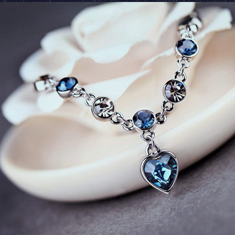 1pc Blue Rhinestone Love Heart Shaped Alloy Chain Bracelet Cuff Bangle Elegant Women Party High Quality Gift Jewelry ...