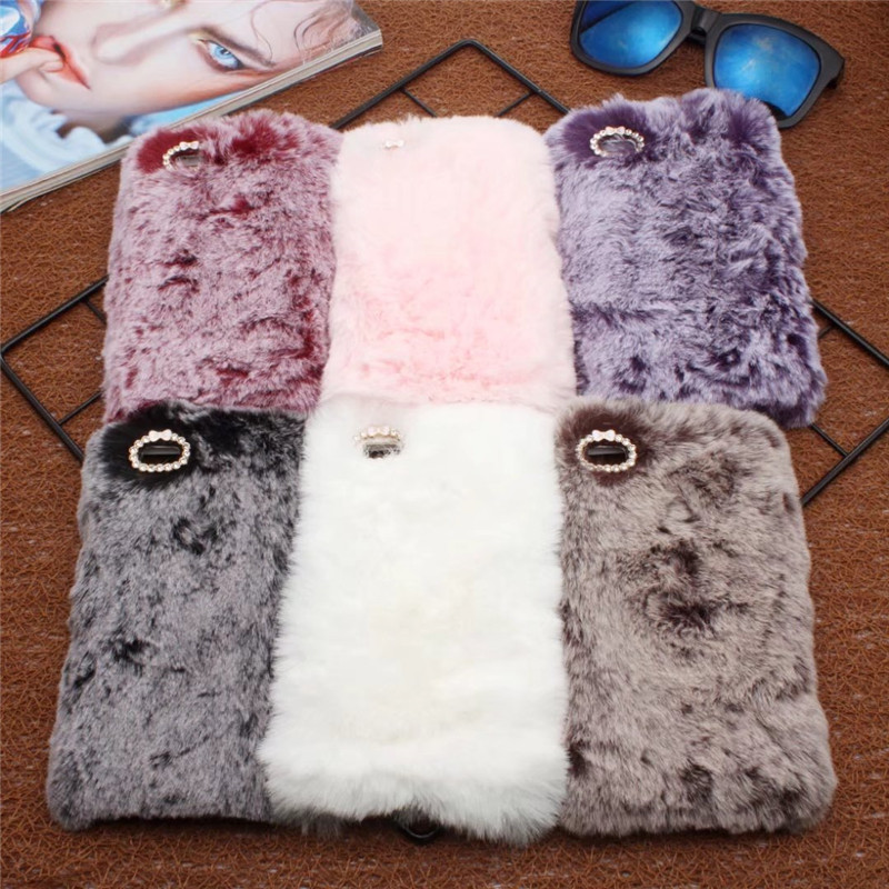 Case For Huawei P9 Lite Ultra Thin TPU Soft Cover Rabbit Long Hair Furry Pussy Diamond Phone Case For Huawei P9 Lite Funda Capa ...