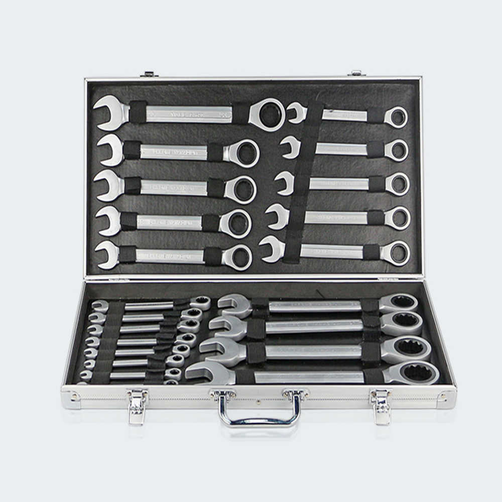 22pcs ratcheting wrench set with mirror finish combination wrenches
