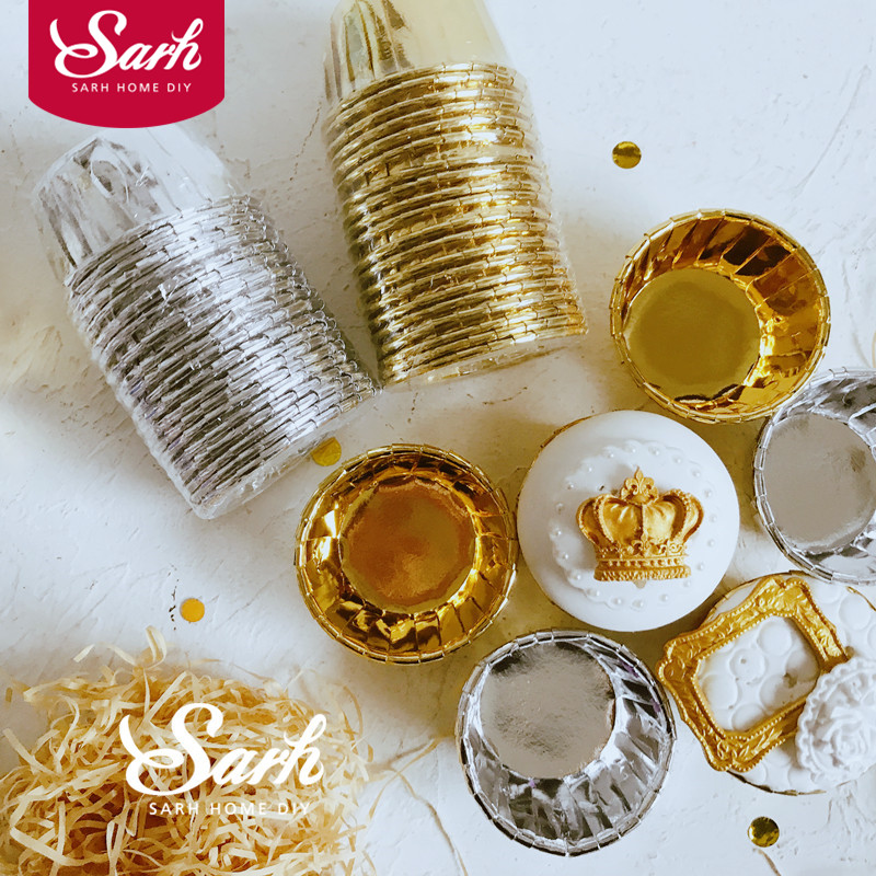 20pcs/pack Gold Silver Medium Cake Cup Double Sided Rolling Cup For The Kitchen Baking Tool