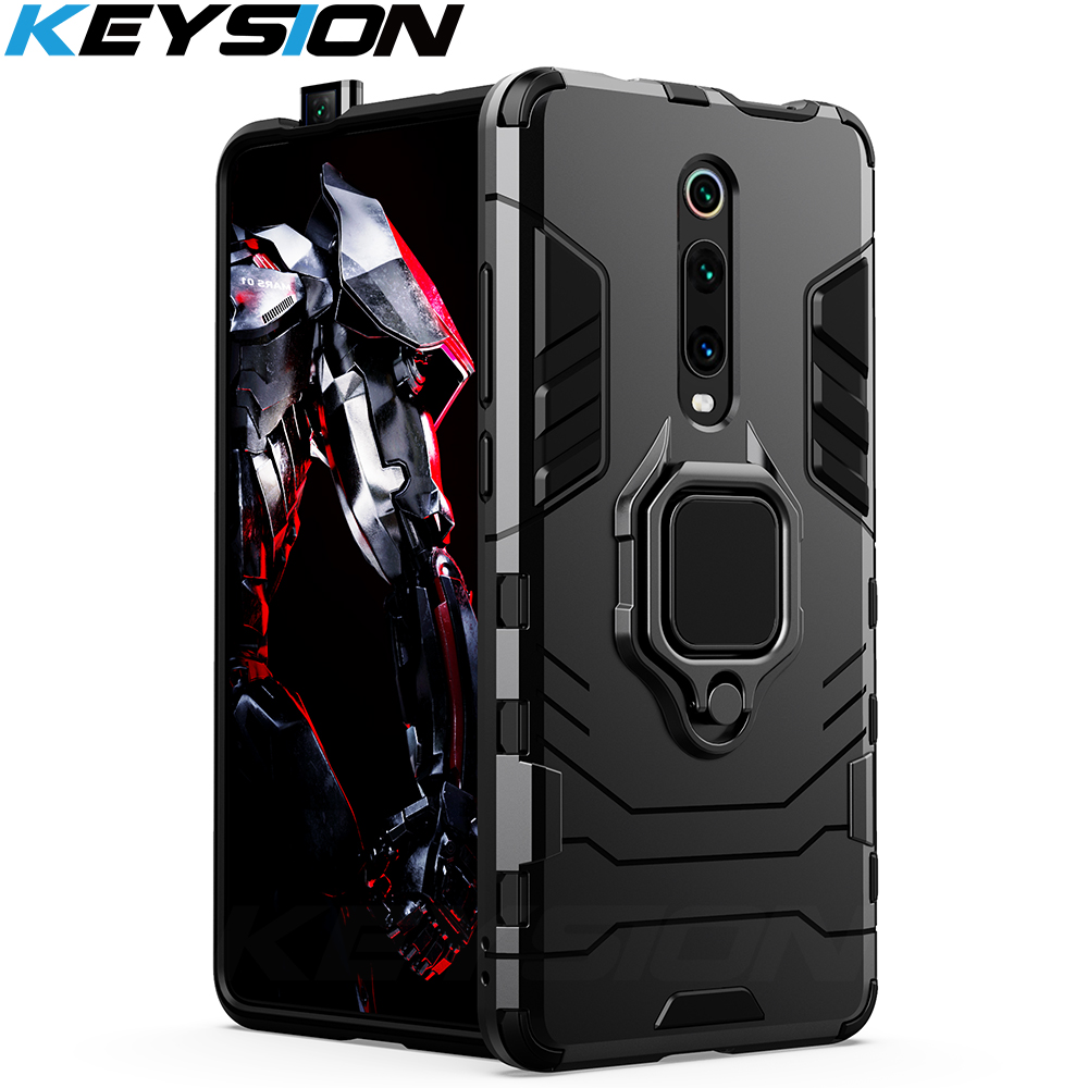 KEYSION Shockproof Armor Case For Redmi K20 K20 Pro Note 7 7a 6 8 Pro Stand Holder Car Ring Phone Cover for Xiaomi Mi 9T Pro Mi9 se CC9e Mi 8 lite A2 A3(China)