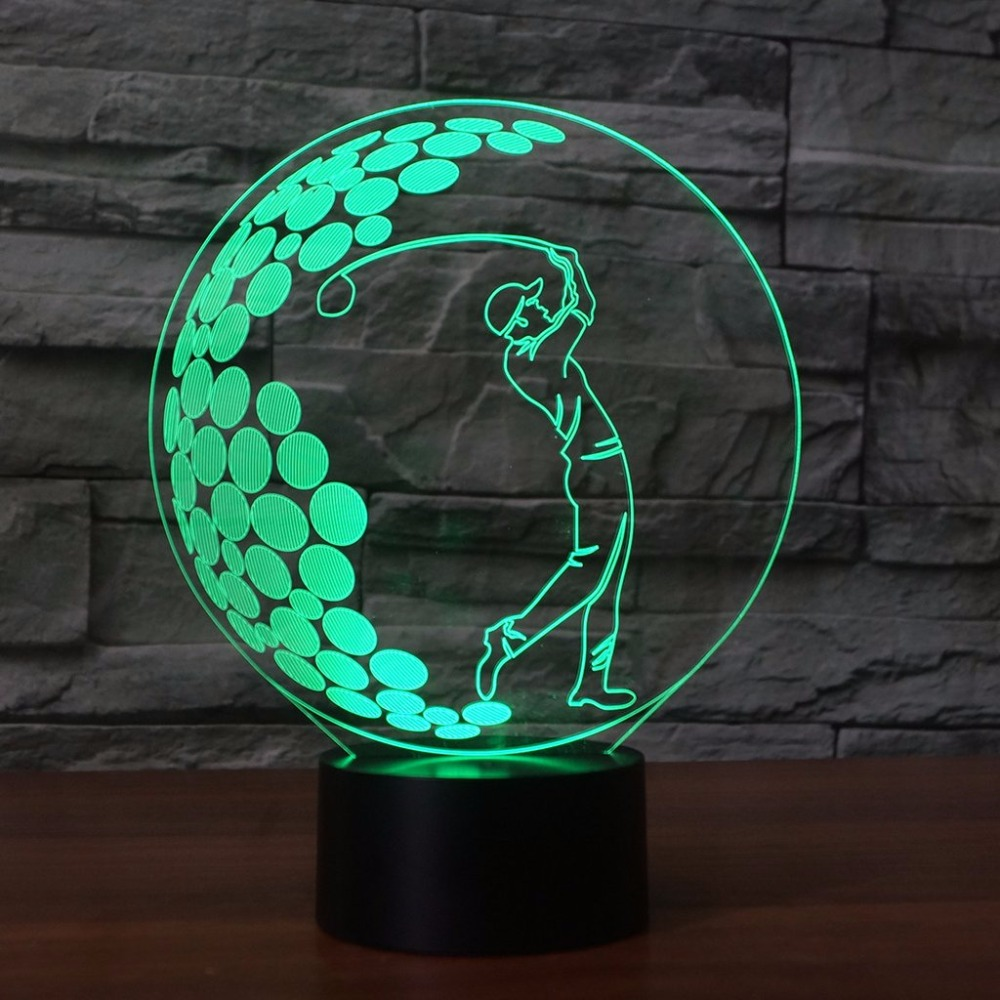 3D LED Play Golf Swing Shape Table Lamp 7 Colors Changing Sleep Night Light Touch Switch Lighting USB For Golf Enthusiast Gifts