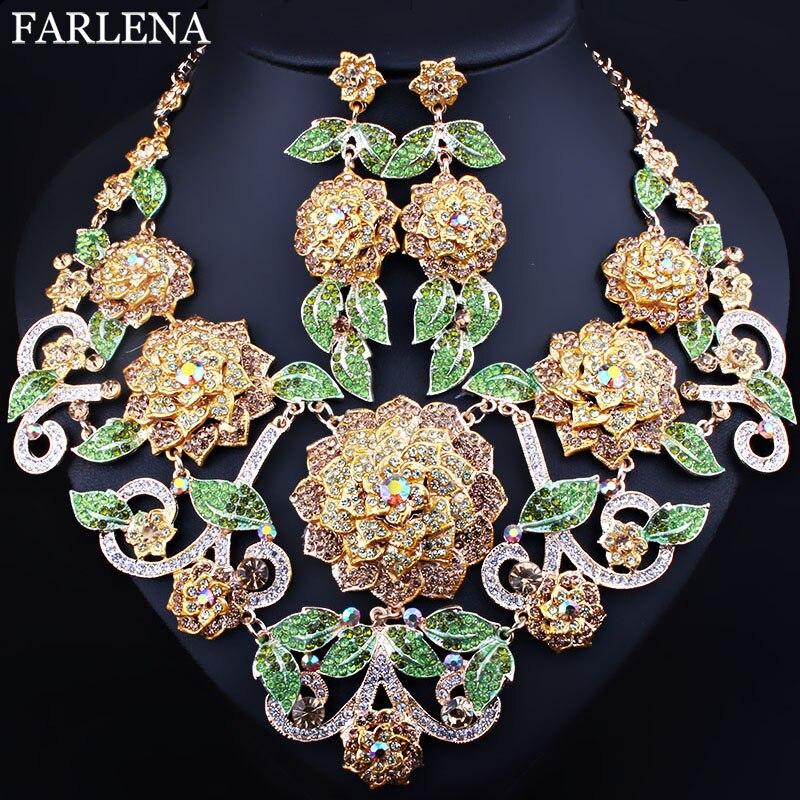 FARLENA Wedding Jewelry Exquisite 3D Flower Necklace