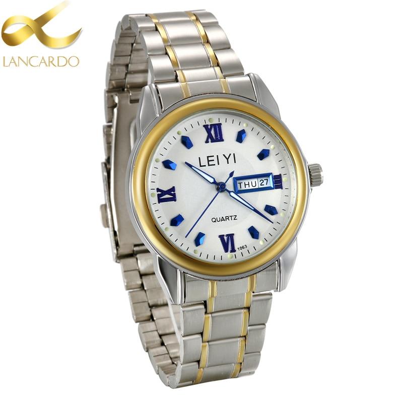 Relogio Masculino Back Light Lancardo Watches Men Luxury Brand Week/Calendar Men Sport Watches Stainless Steel Quartz Watch