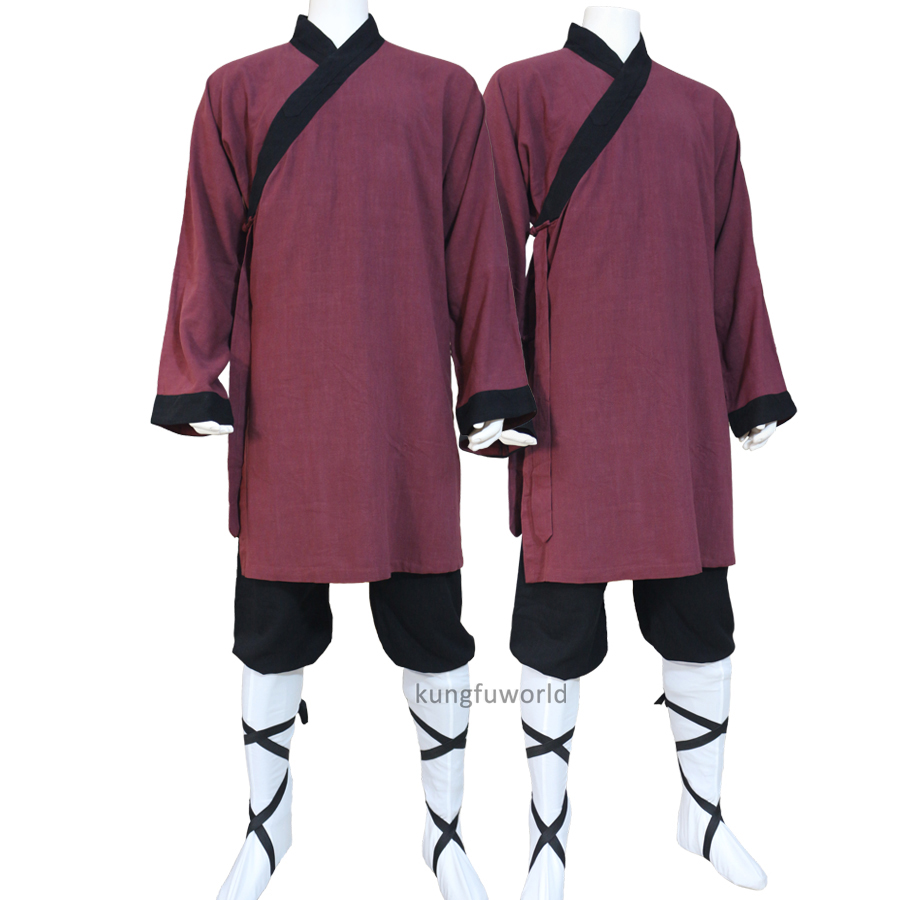 Thick Cotton Shaolin Monk Uniform Wushu Tai Chi Suit Martial Arts Kung Fu Clothes Wing Chun Monk Robe 10 Colors