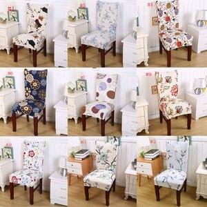 Image 4 - Floral Print Stuhl Abdeckungen Haus Esstisch Multifunktionale Spandex Stuhl Abdeckung Neue