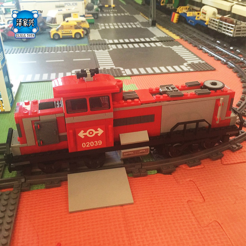 NEW Model DIY Red Cargo Train Building Bricks Toys for Children Game Model Car Gift Compatible with Lepins 3D Toys new idea gift solar energy blocks toy transfer boat car train electric toys for children education diy game tool bricks outdoor