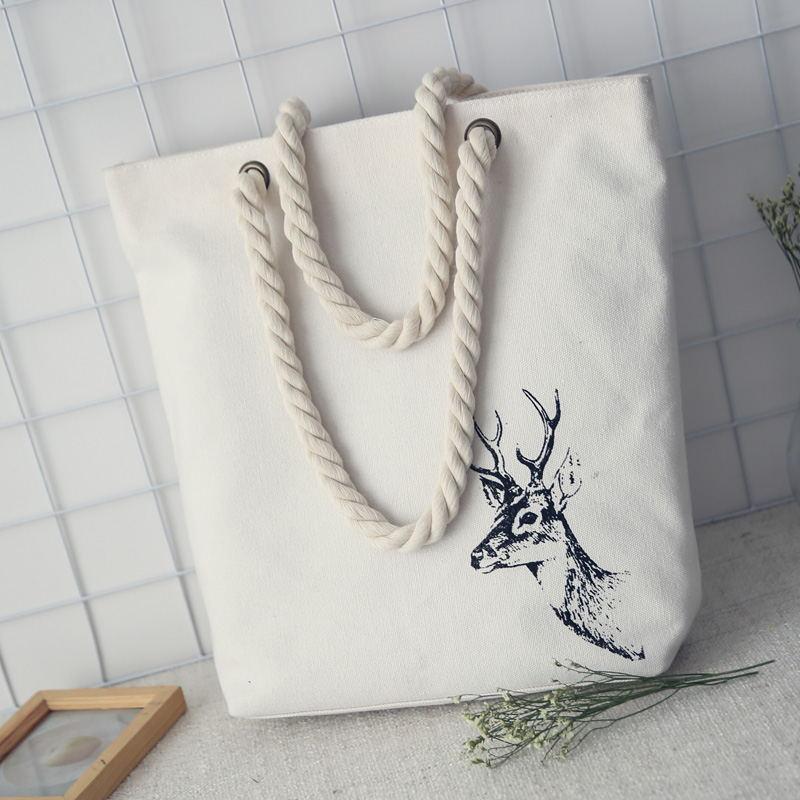 Canvas animal printing women reusable shopping bag female tote handbag ladies book pouch bolsa feminina bolso mujer for girls